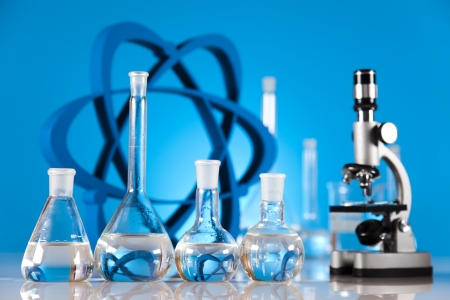 Atom, Molecules model, Laboratory glassware Stock Photo - 19410359