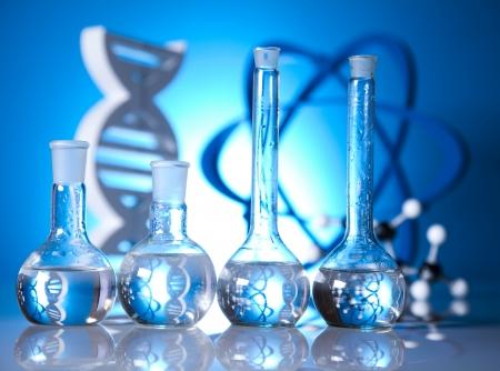 Atom, Molecules model, Laboratory glassware   photo