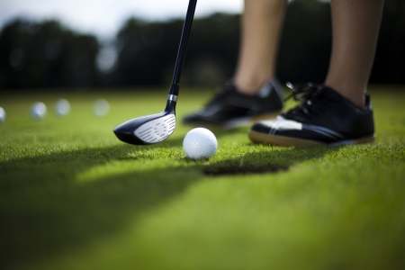 Golfbal op de groene weide, bestuurder