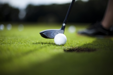 Golfbal op groene weide, bestuurder