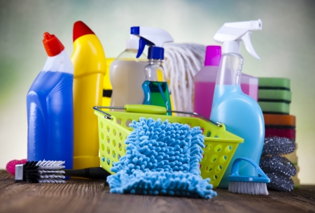 Set of cleaning products  Stockfoto