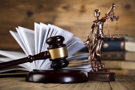 Tema de la ley, mazo de juez, mazo de madera