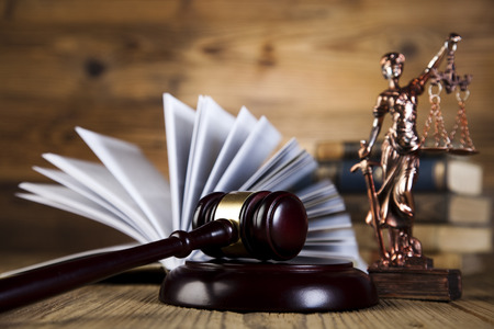Law theme, mallet of judge, wooden gavel Reklamní fotografie - 27053170