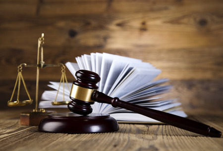 Scales of justice, gavel and law book