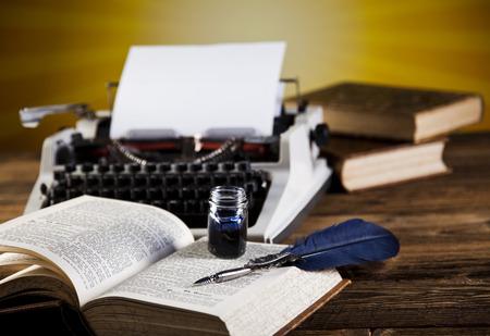 Vintage typewriter on old book