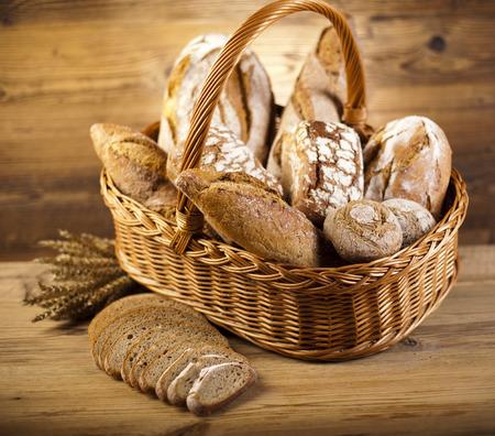 Baked bread in basket