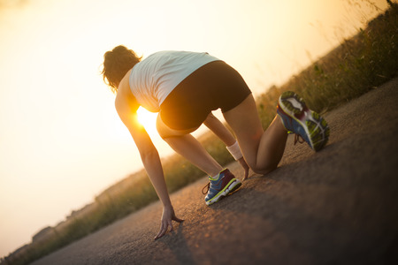Woman fitness, Runner feet running Stockfoto