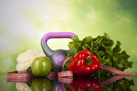 Fitness apparatuur en gezonde voeding Stockfoto