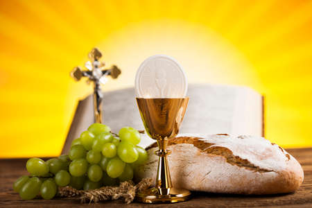 Holy Communion Bread, Wine for christianity religion Stok Fotoğraf