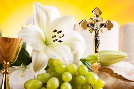 Holy Communion Bread, Wine for christianity religion Stock Photo