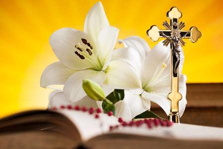 Eucharistie, sacrament van de communie achtergrond Stockfoto
