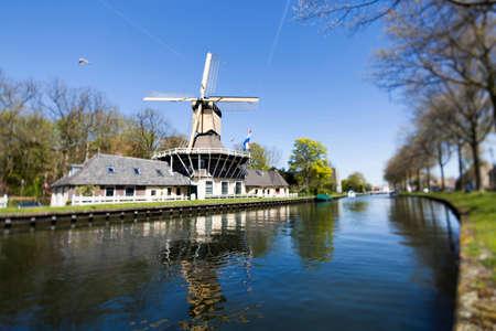 Dutch windmill in netherlands Stock Photo