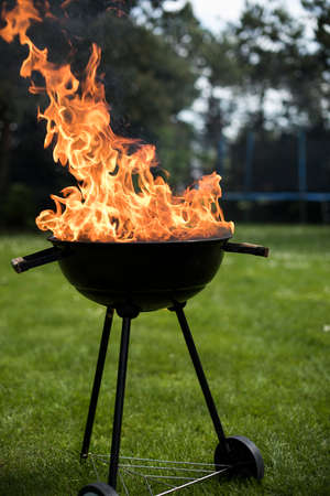 Barbecue grill with fire on nature, outdoor, close up Stock Photo