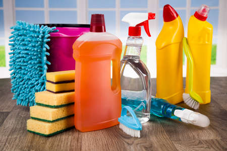 House cleaning with various cleaning tools Banco de Imagens