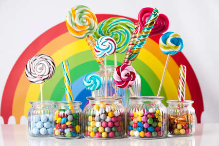 Lollipops and sweet candies of various colors Stock Photo