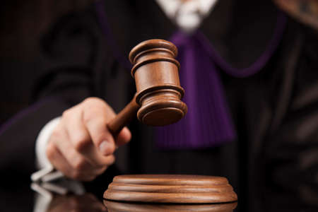 Justice and law concept. Male judge in a courtroom Stock Photo