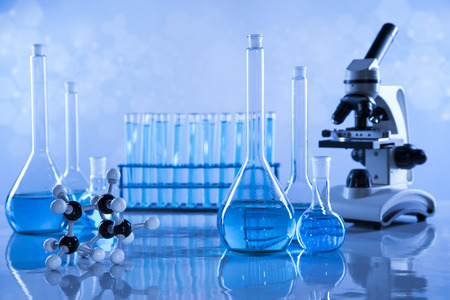 Laboratory Research and Development. Scientific glassware for chemical experiment Banque d'images - 114536276