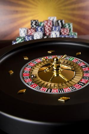 Roulette wheel running in a casino, Poker Chips