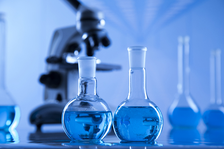 Laboratory Research and Development. Scientific glassware for chemical experiment
