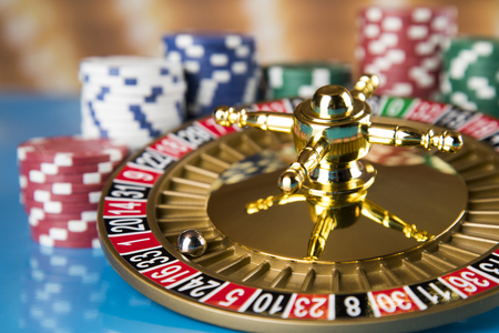 Roulette wheel running in a casino, Poker Chips