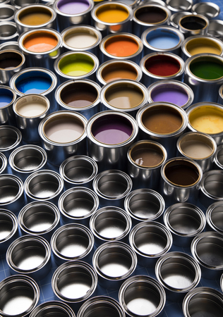 Concept group of tin metal cans with color paint