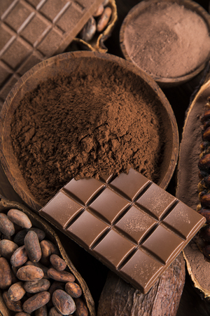 Chocolate sweet, cocoa and food dessert background Reklamní fotografie - 119692512