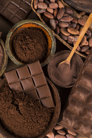 Cocoa pod and chocolate bar and food dessert background Reklamní fotografie - 119692518