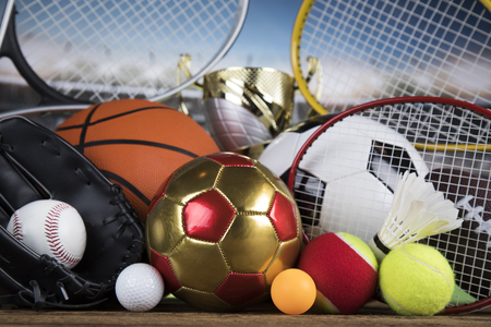 Sport equipment and balls background