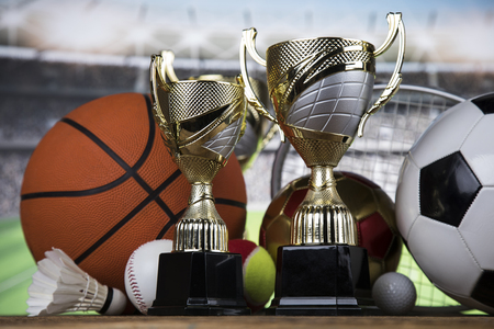 Sports balls with equipment, Winner background