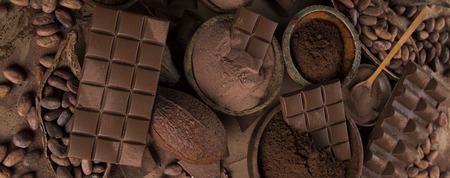 Milk and dark chocolate, candy sweet background