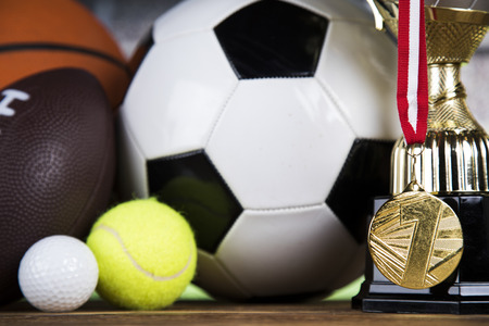 Sport equipment and balls background