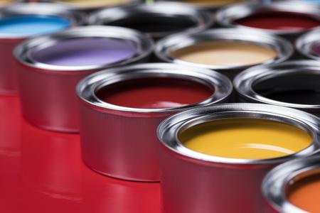 Color palette, can, Rainbow colors background Reklamní fotografie