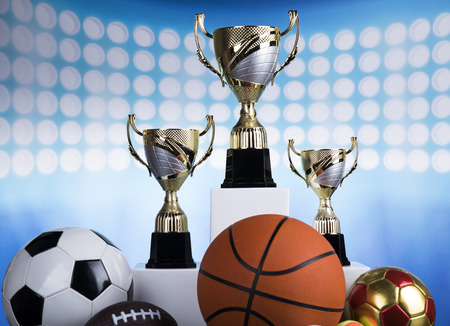 Podium for sports awards, equipment and balls