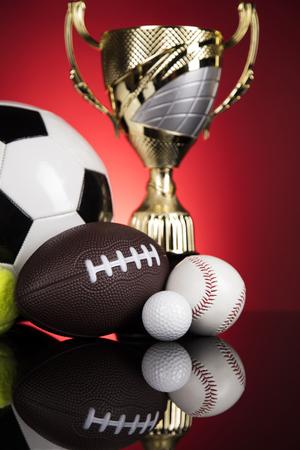 Sports balls with equipment, Winner background