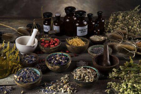 Alternative medicine, dried herbs background