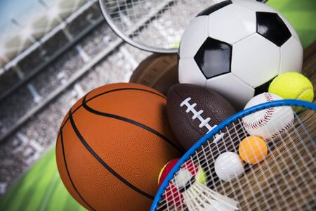 Assorted sports equipment, Winner background