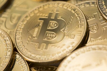 Bitcoin è una criptovaluta e un pagamento in tutto il mondo, concetto di tecnologia