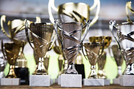 Trophy, Winning, Award. sport ball background