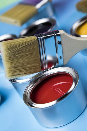 Paint can and paintbrush, Rainbow colors