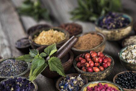Medicina alternativa, fondo de hierbas secas