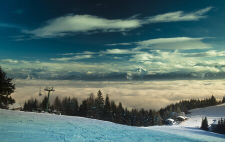 Mountains, winter landscape, Sunset background