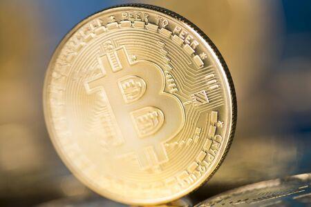 Virtual money, Currency. Bitcoin coins, financial Stock Photo