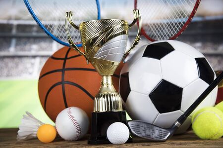 Trophy cup and sport ball background
