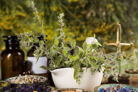 Alternative medicine, dried herbs background Archivio Fotografico