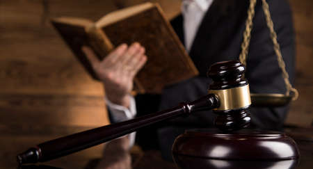 People, law concept, Wooden gavel