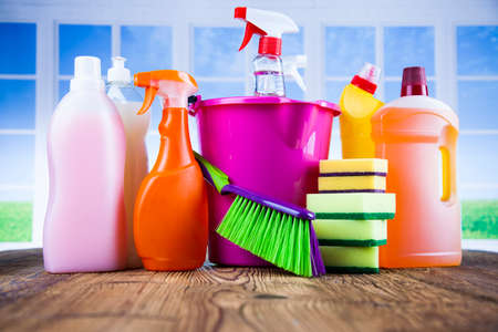 Group of assorted cleaning and window background