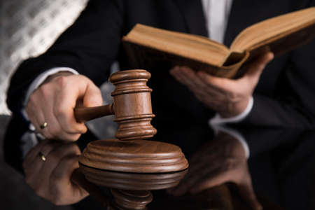 People, Wooden gavel barrister, justice concept