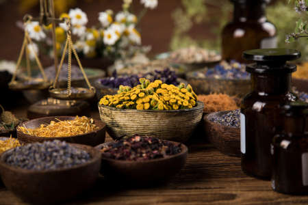 Natural remedy, healing herbs background
