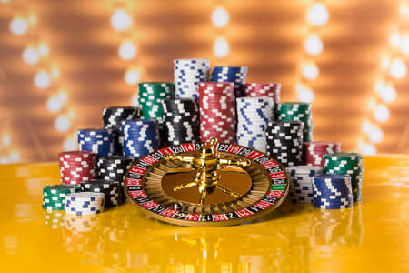 Casino roulette, running in a motion, Poker Chips