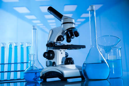 Laboratory Research and Development. Scientific glassware for chemical experiment 免版税图像